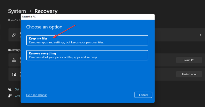 Keep my files option windows 11 search indexing was turned off
