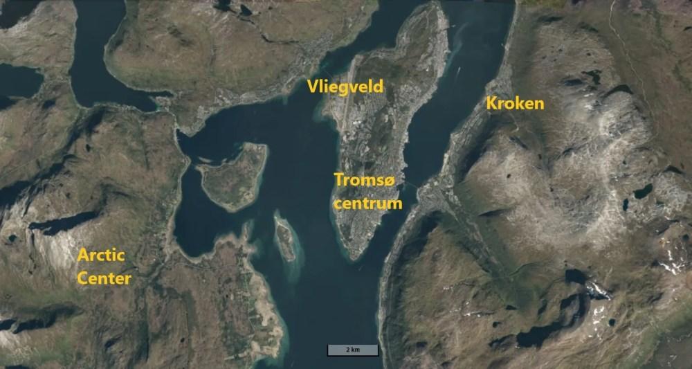Het nieuwe skigebied ligt aan de westkant van Tromsø (norgeskart.no)