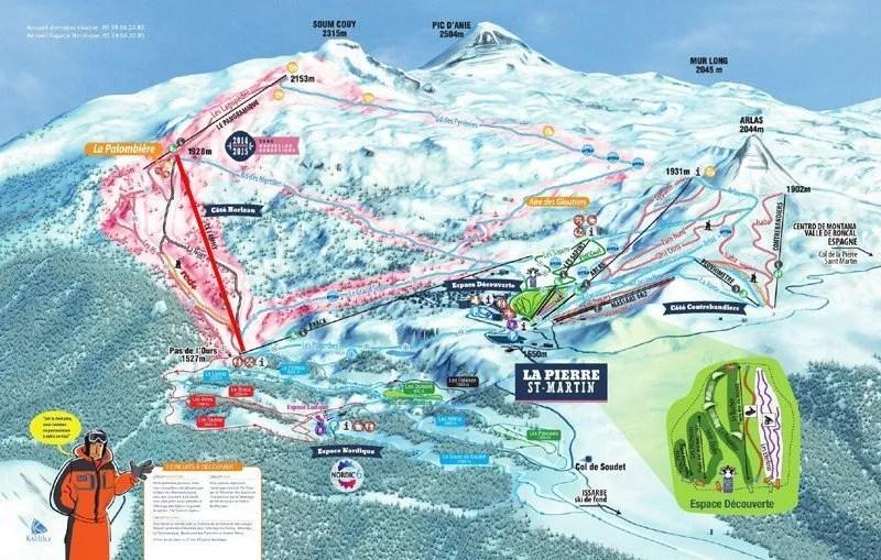 Het pistenplan van het skigebied, de Family is de rood ingetekende lift
