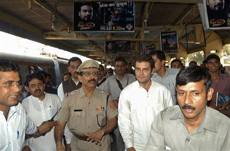 Rahul Gandhi takes local train in Mumbai