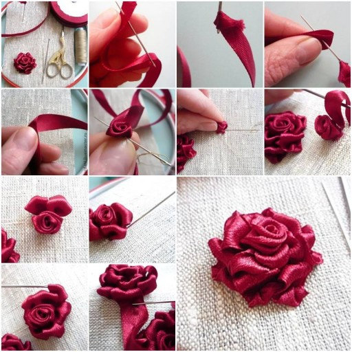 how to make flower using paper ribbon