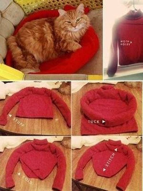 Wonderful DIY Cat TentBed From Old Shirt
