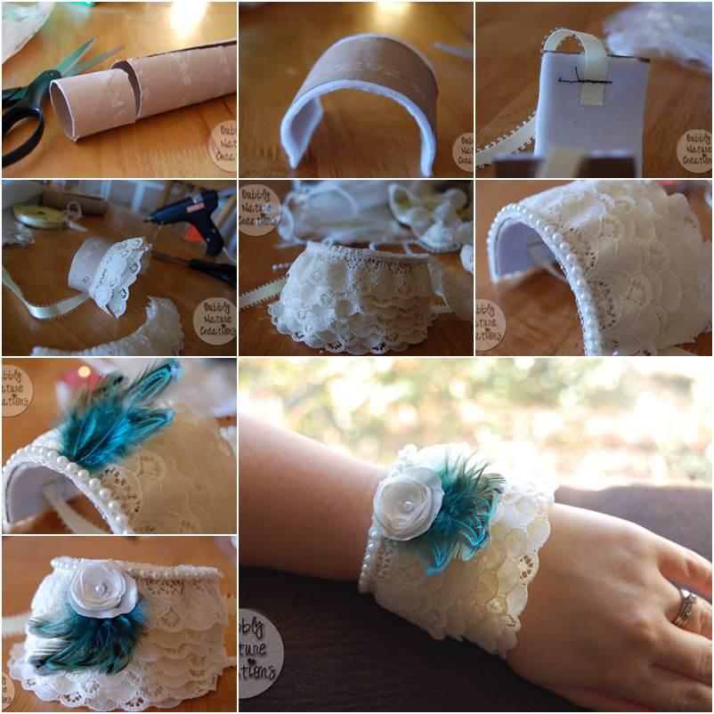 Wonderful DIY Lace Cuff Bracelet From Paper Roll