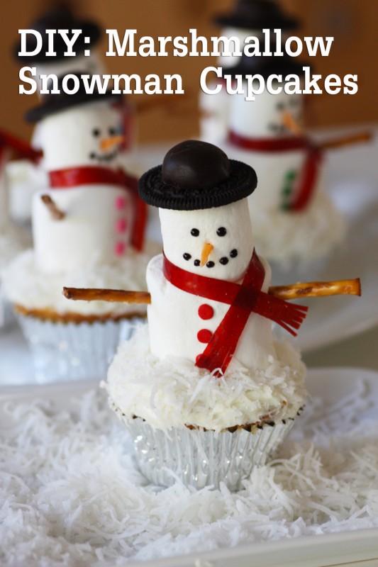 Wonderful Diy Marshmallow Snowman Cupcakes