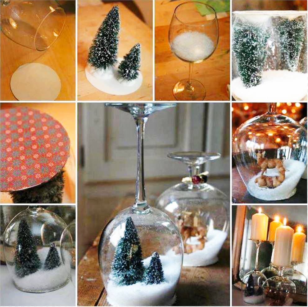 Wonderful DIY Stemware Snow Globes Candle Holder