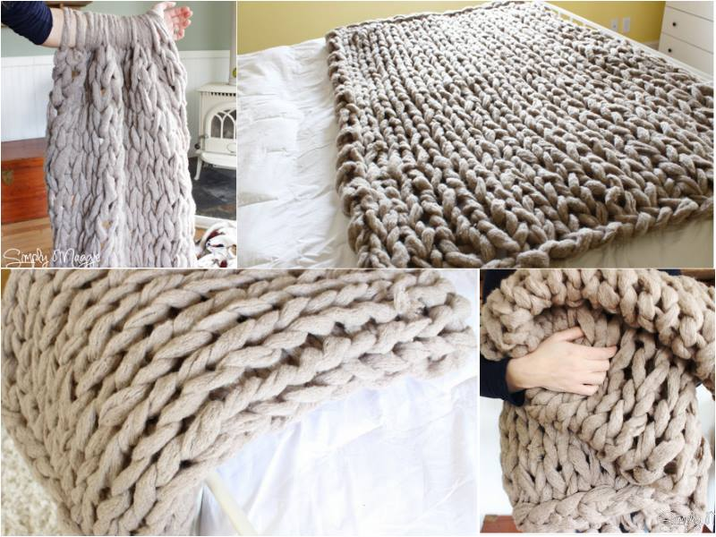 Fancy 45Minutes DIY Arm Knitted Blanket