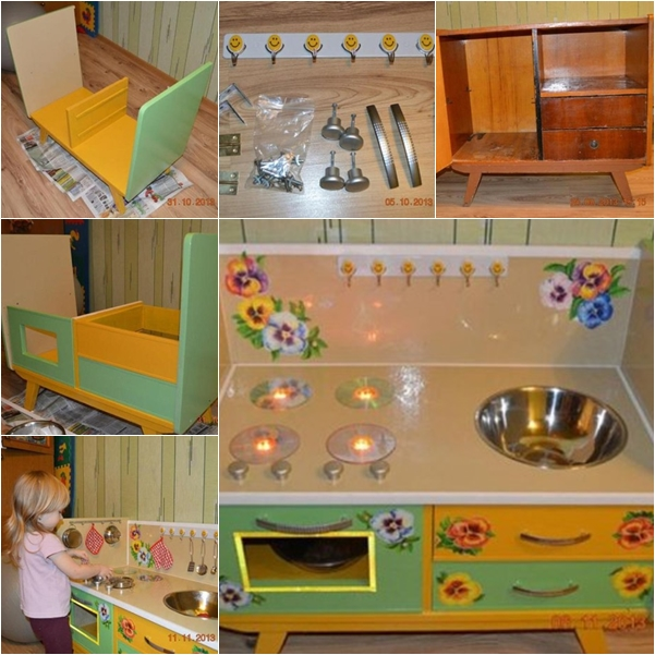 Wonderful DIY Kids Play Kitchen from Old Nightstand