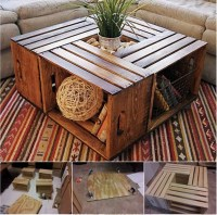 Wonderful DIY Coffee Table from Recycled Wine Crates