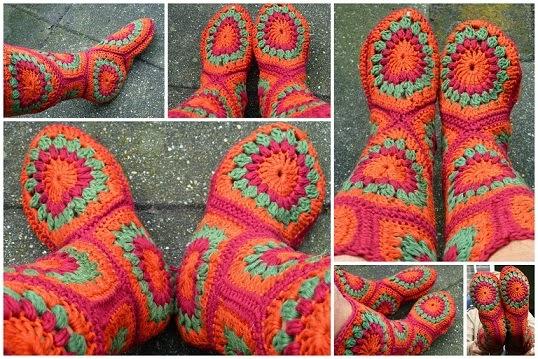 Wonderful DIY Crochet Hexagon Slipper Boots Free Pattern