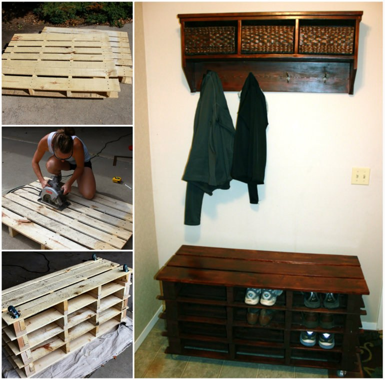 Awesome Shoe Storage Bench Made from Pallets