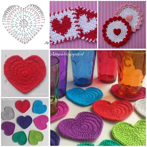 Wonderful DIY Crochet Love Heart Coaster