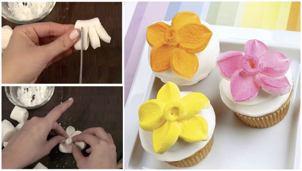 Wonderful DIY Marshmallow Flower Shaped Cupcake Topper Video