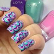 diy water marble nail art