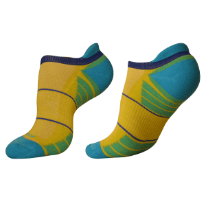 woolrior merino running socks yellow blue