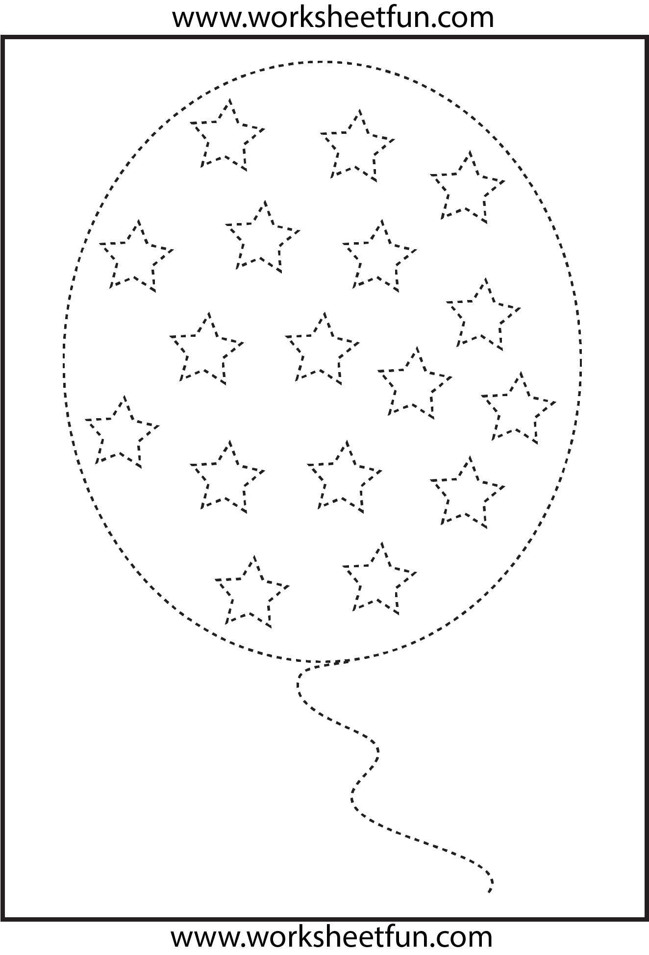 Picture Tracing Balloon 1 Worksheet Free Printable