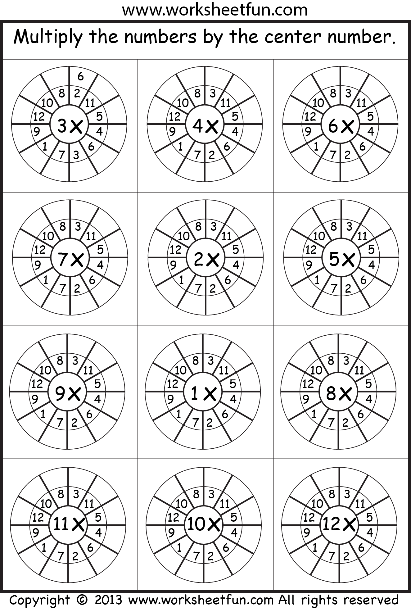 Times Table Worksheets 1 2 3 4 5 6 7 8 9 10 11
