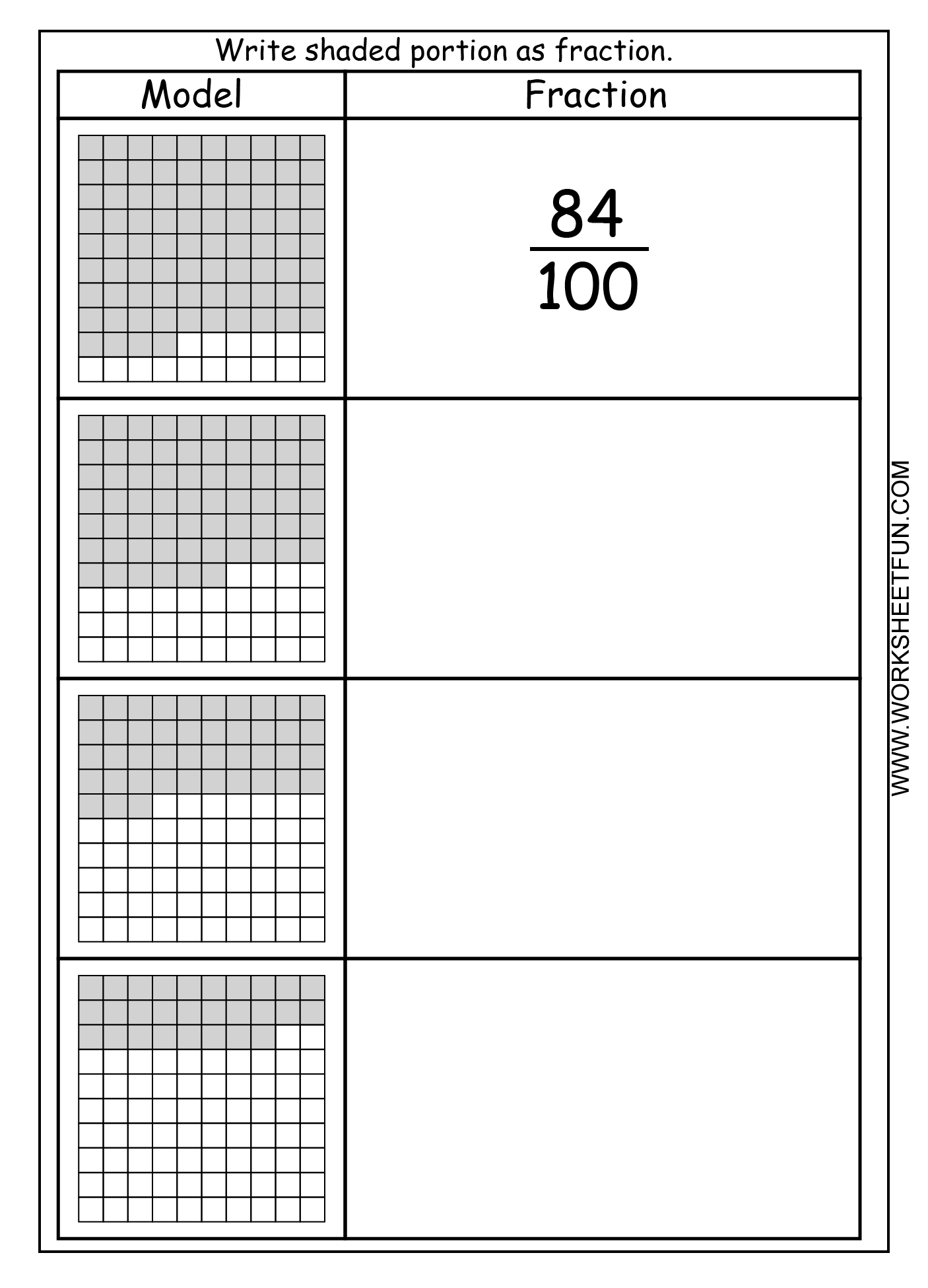 Fraction Model Hundredths 4 Worksheets Free Printable Worksheets Worksheetfun