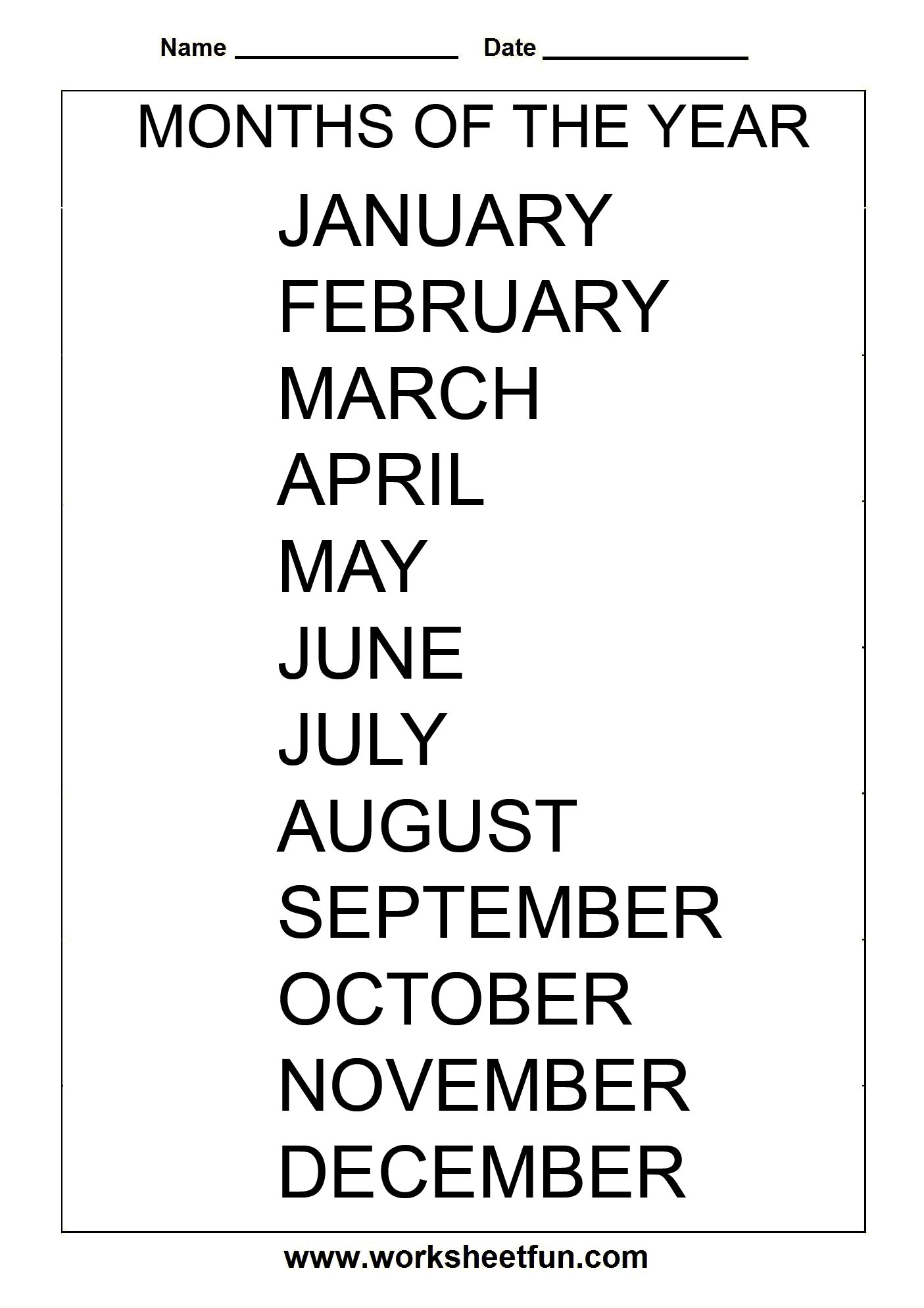 Months Of The Year 1 Worksheet Free Printable Worksheets Worksheetfun