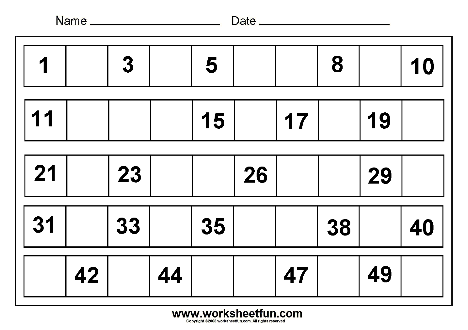 Missing Numbers 1 To 50 8 Worksheets Free Printable