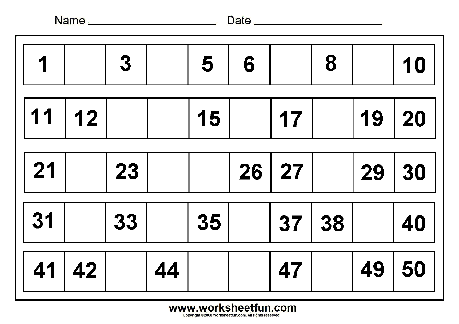 Missing Numbers 1 To 50 8 Worksheets Free Printable Worksheets Worksheetfun
