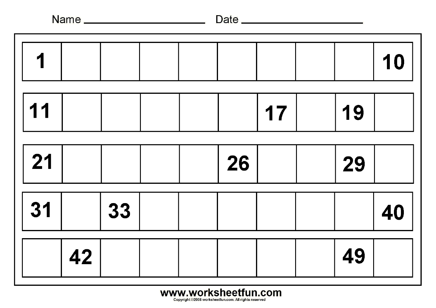 Prime Numbers 1 50 Worksheet