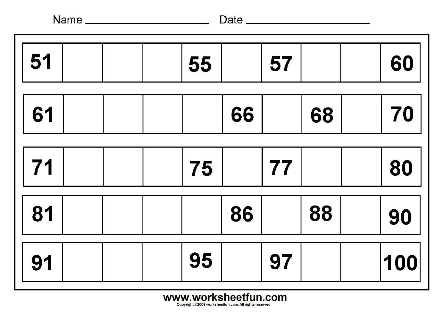 Missing Numbers 51 To 100 8 Worksheets Free