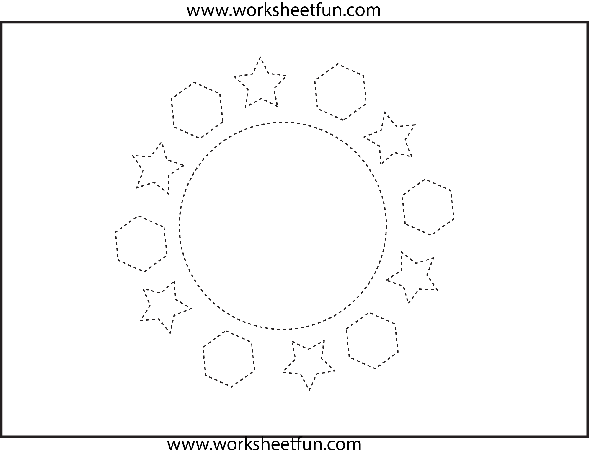 Shapes Circle Hexagon Star 1 Worksheet Free