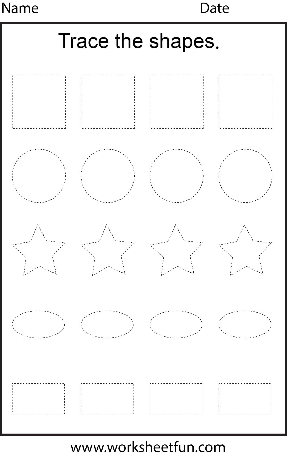 Shape Tracing 1 Worksheet Free Printable Worksheets