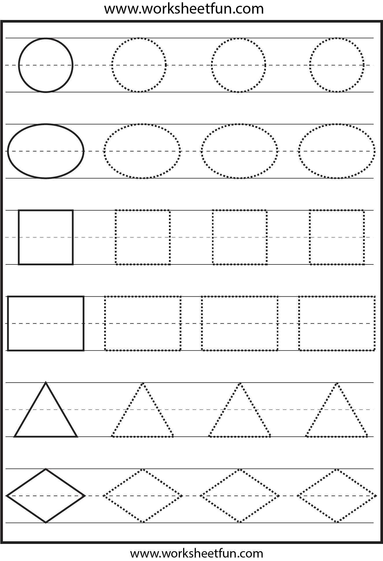 Shapes Tracing 1 Worksheet Free Printable Worksheets