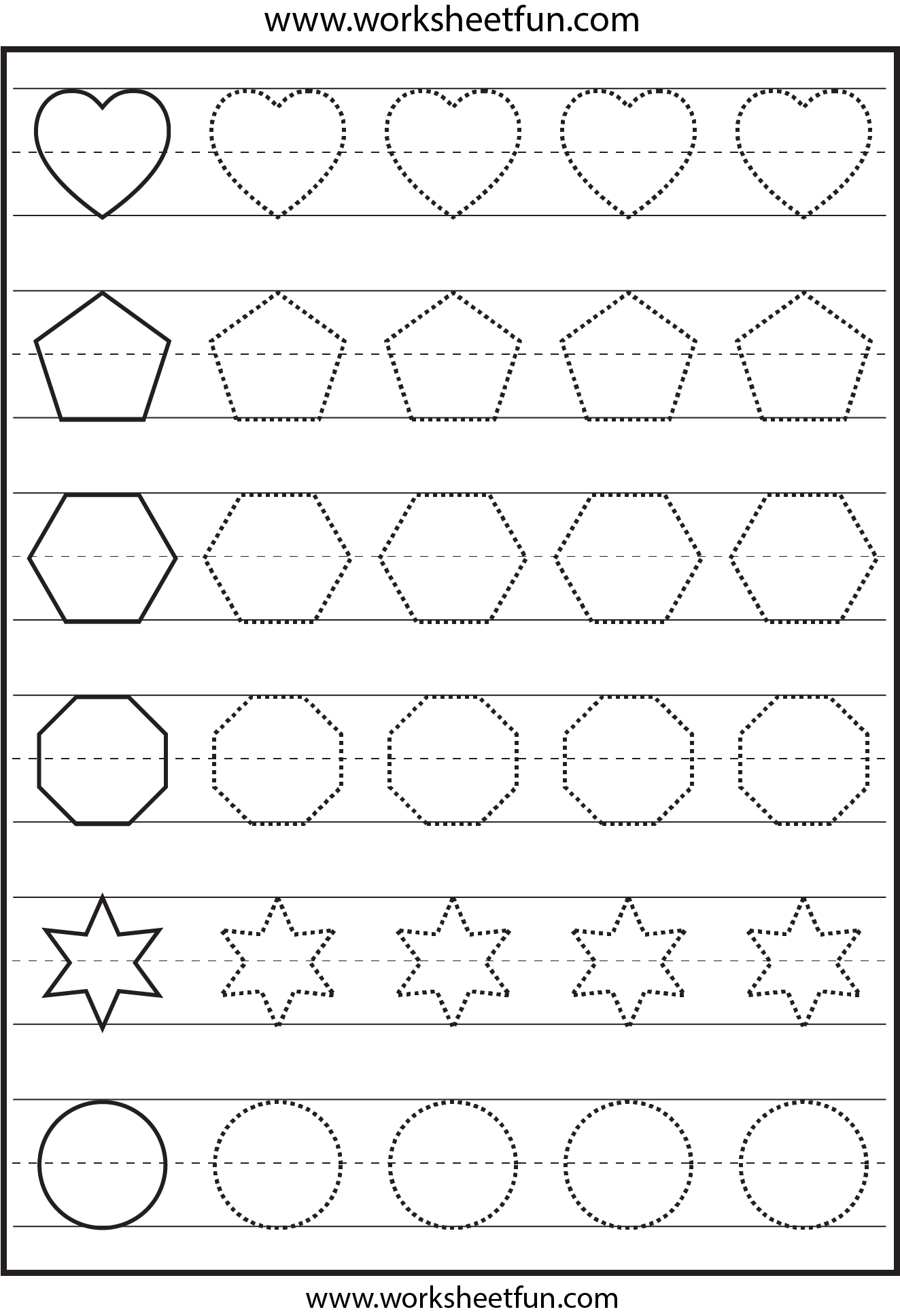 Shape Tracing 1 Worksheet Free Printable Worksheets Worksheetfun