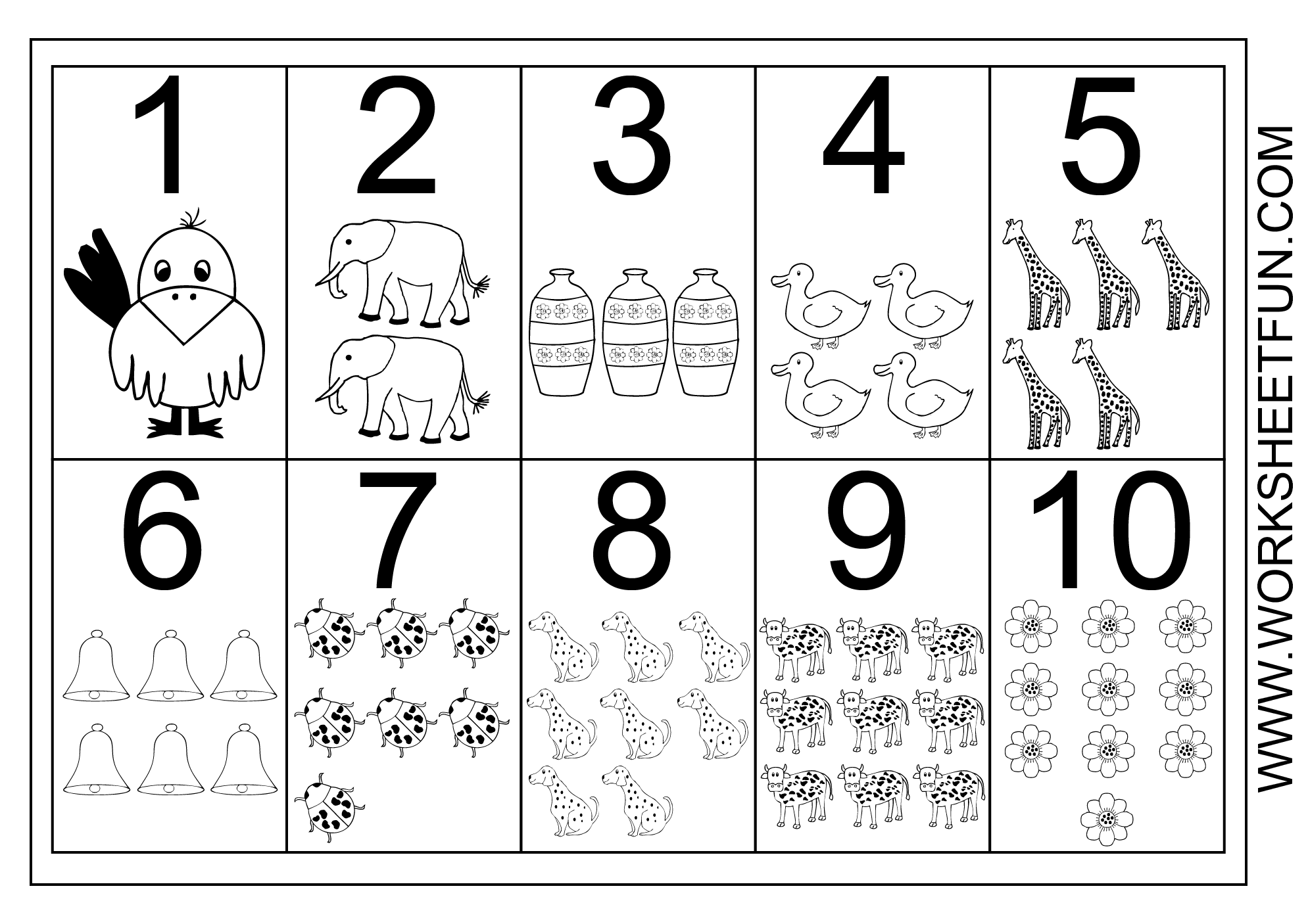 Picture Number Chart 1 10 Free Printable Worksheets Worksheetfun