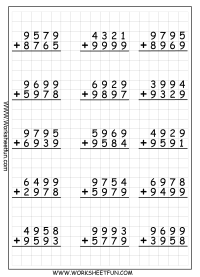 4 Digit Addition With Regrouping  Carrying  9 Worksheets ...