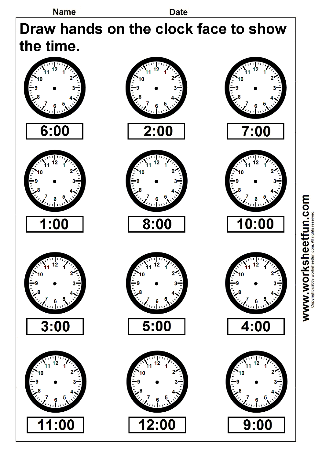 Time – Draw hands on the clock face