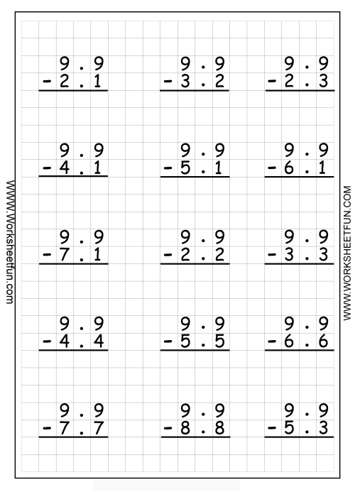 small resolution of Subtraction Decimals Worksheets