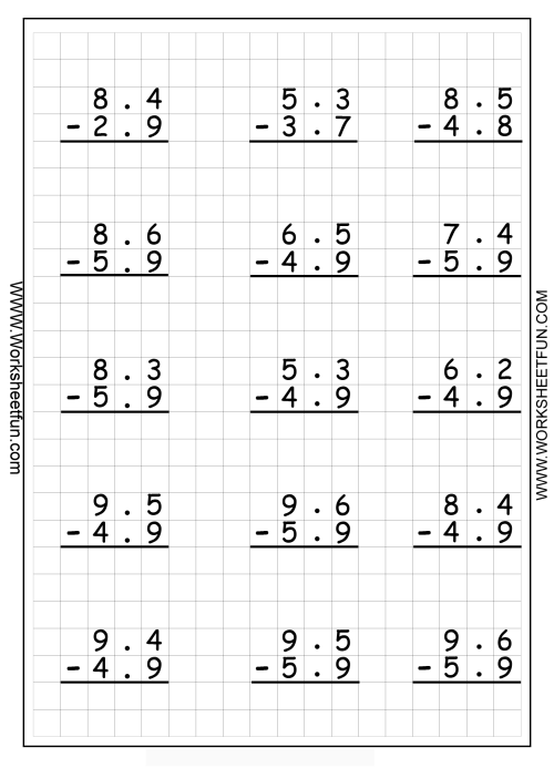 small resolution of Math Drills Subtraction Worksheets   Printable Worksheets and Activities  for Teachers