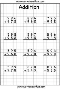 3 Digit Addition With Regrouping  Carrying  6 Worksheets ...