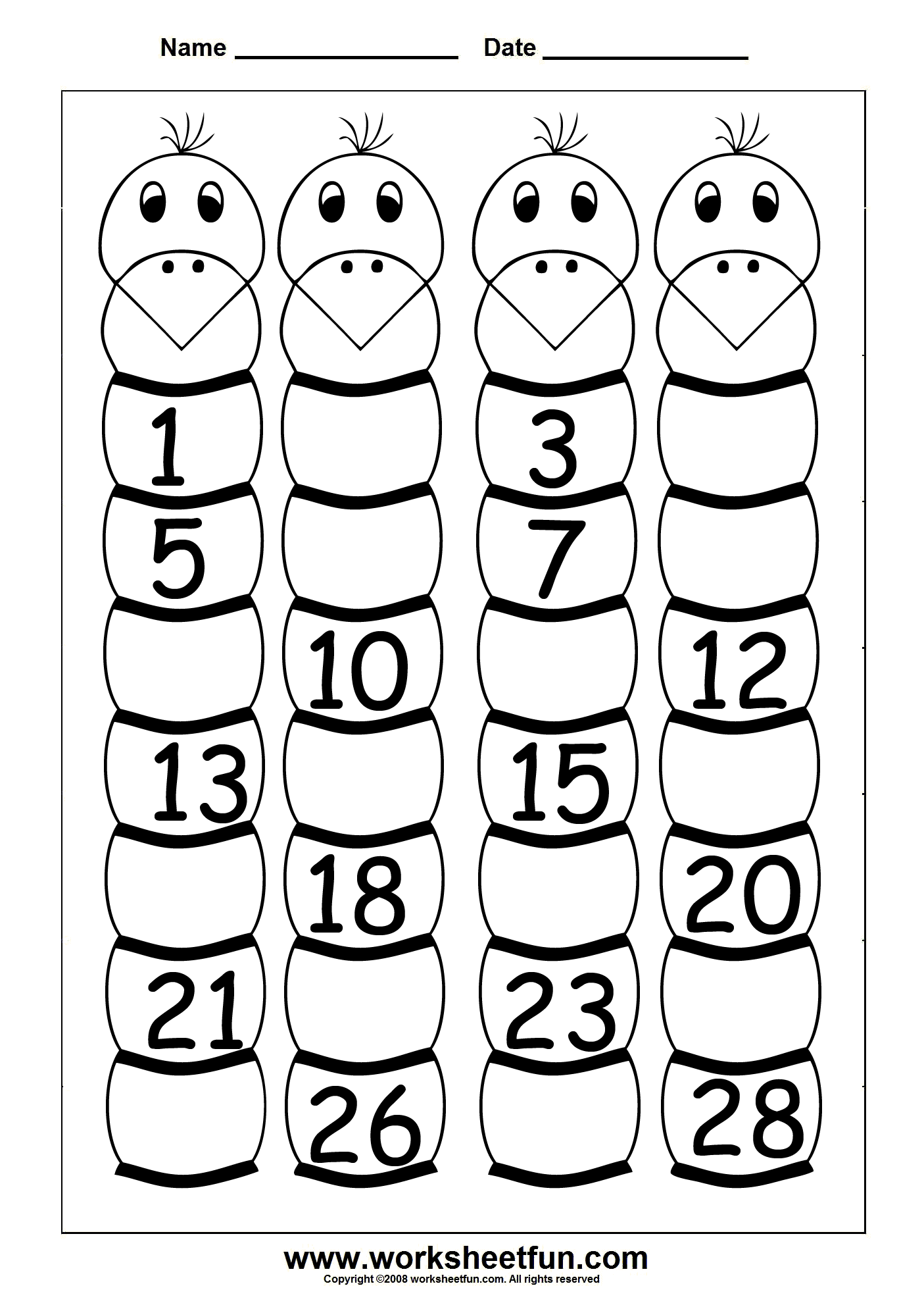 Missing Numbers 1 To 28 Four Worksheets Free Printable Worksheets Worksheetfun