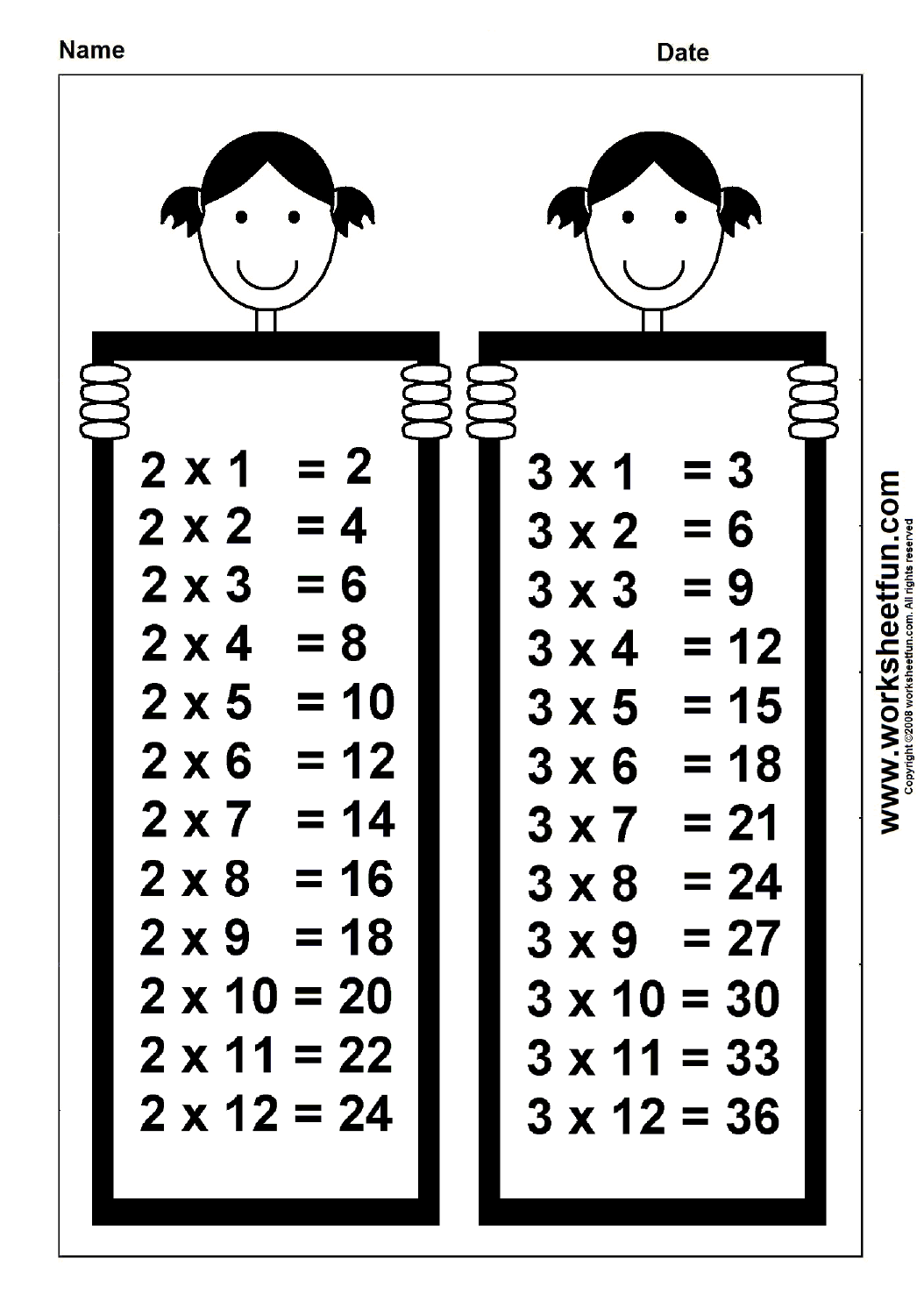 Times Table Chart 2 Amp 3 Free Printable Worksheets