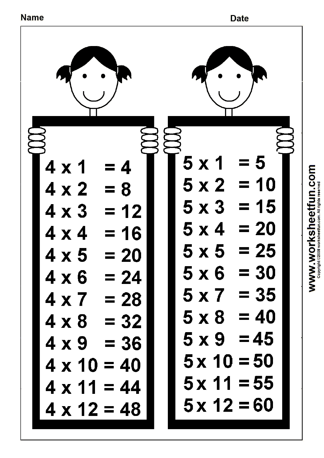 Times Table Chart 4 Amp 5 Free Printable Worksheets Worksheetfun
