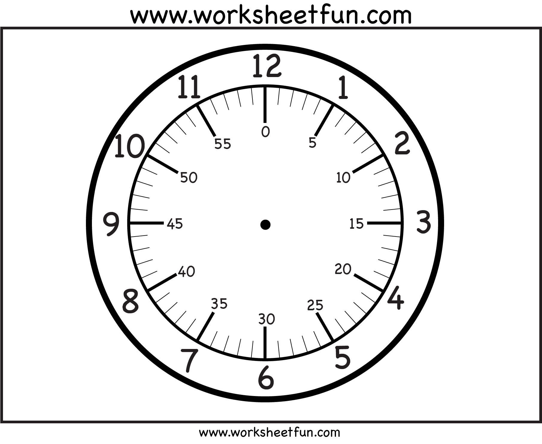 Time Printable Clock Face 4 Worksheets Free