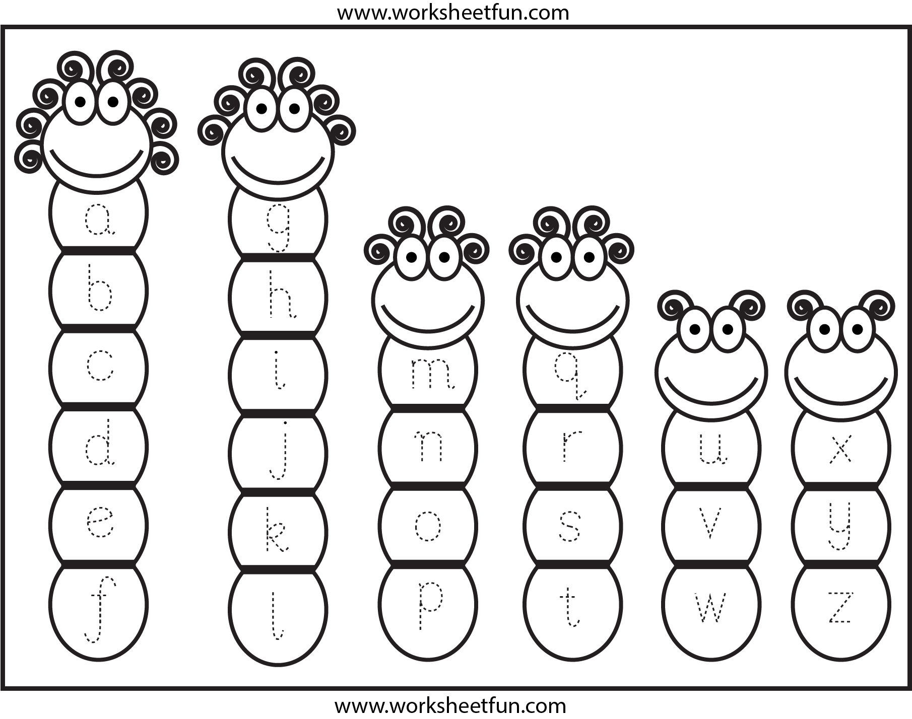 Tracing Lowercase Letters Small Letters Free Printable Worksheets Worksheetfun