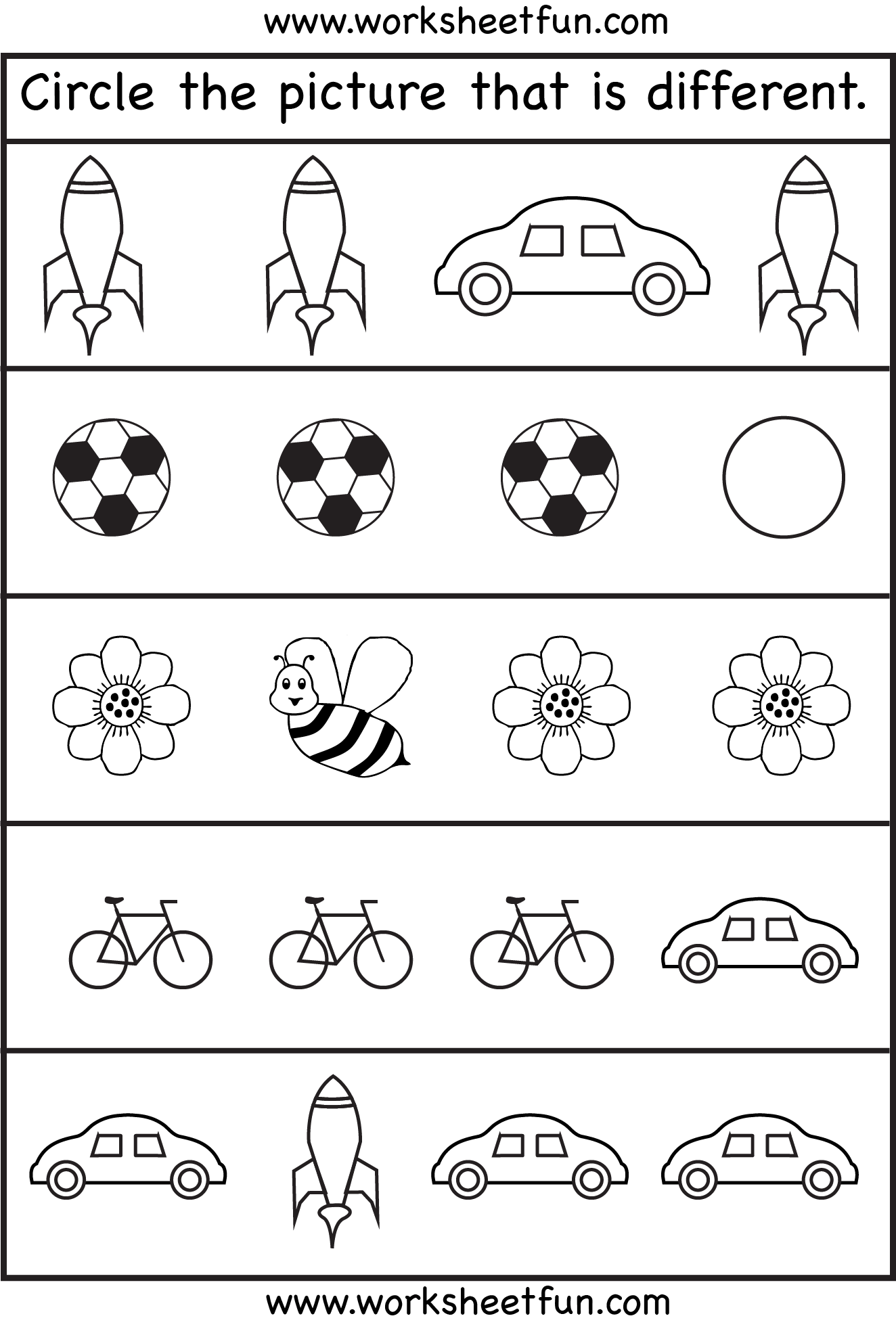 Circle The Picture That Is Different 1 Worksheet Free Printable Worksheets Worksheetfun