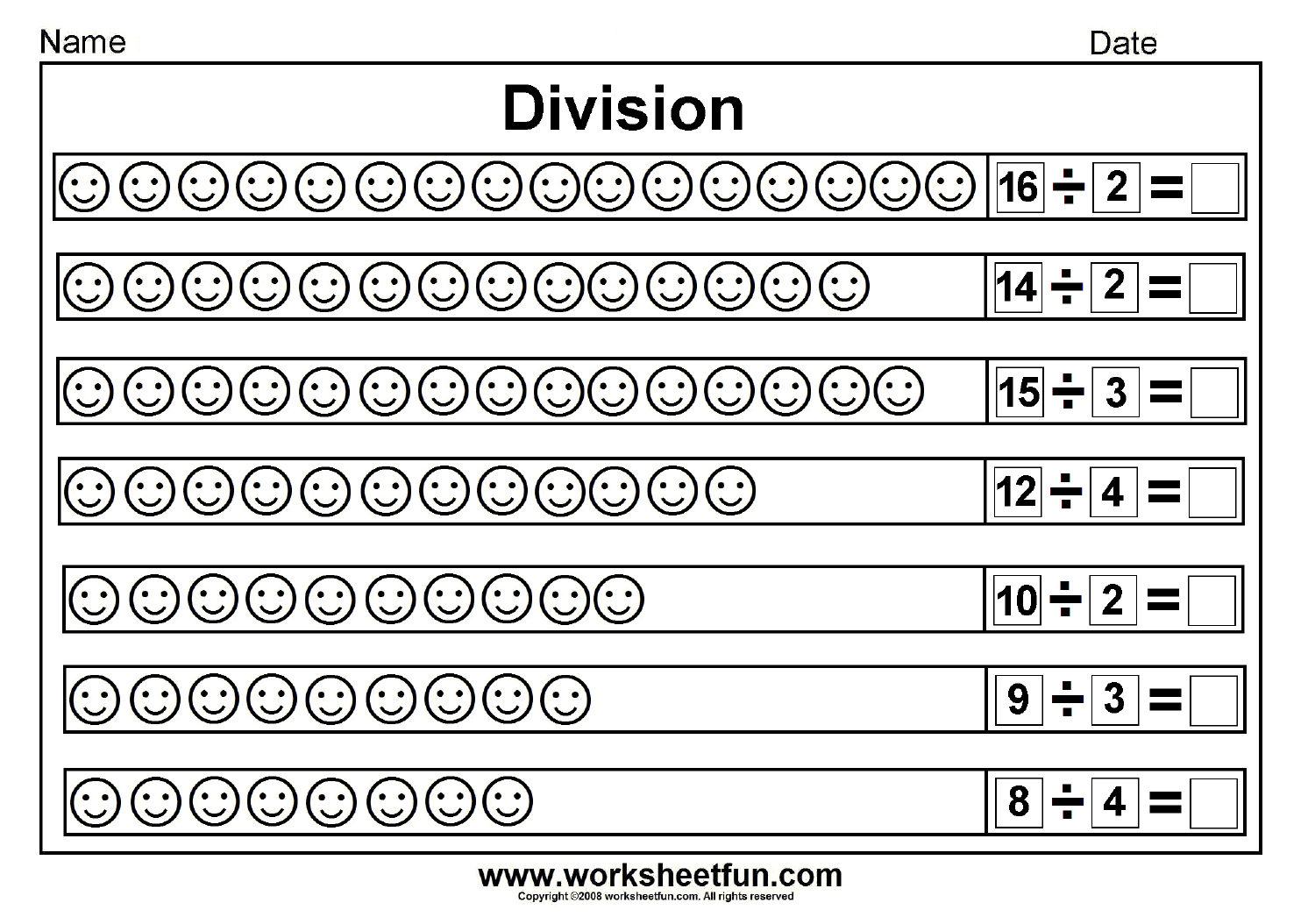 Worksheet Division Grade 3