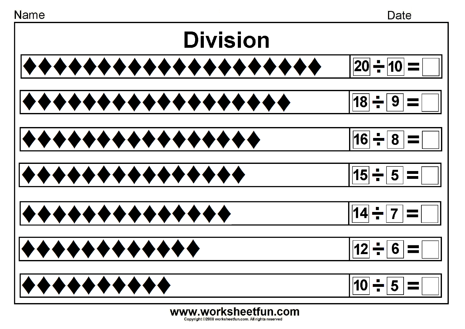 Division Worksheet For 2nd Grade