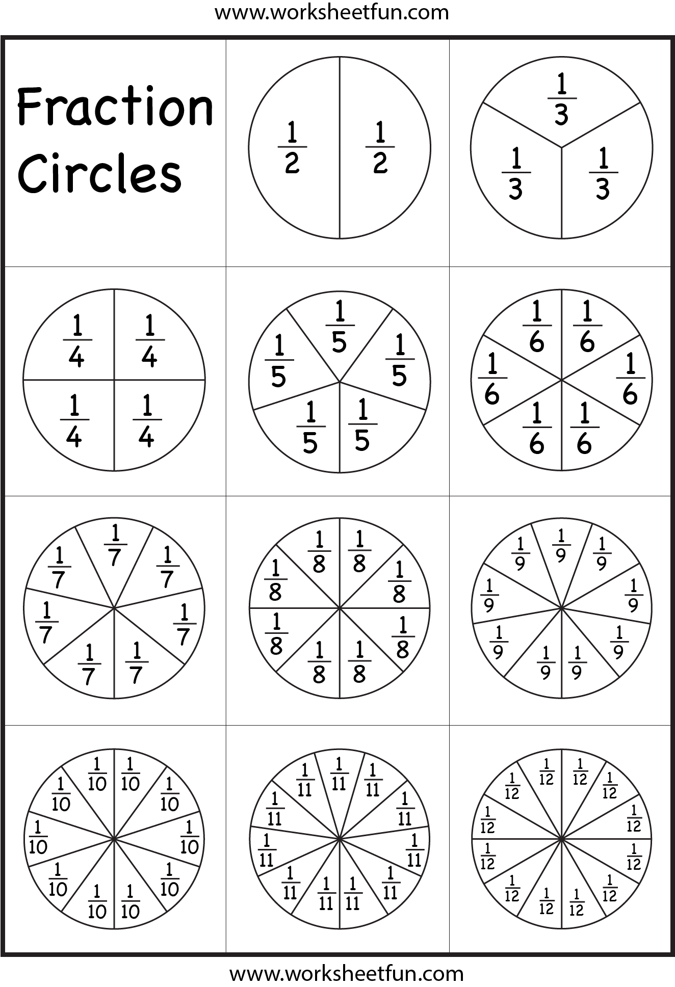Fraction Circles Worksheet Free Printable Worksheets Worksheetfun