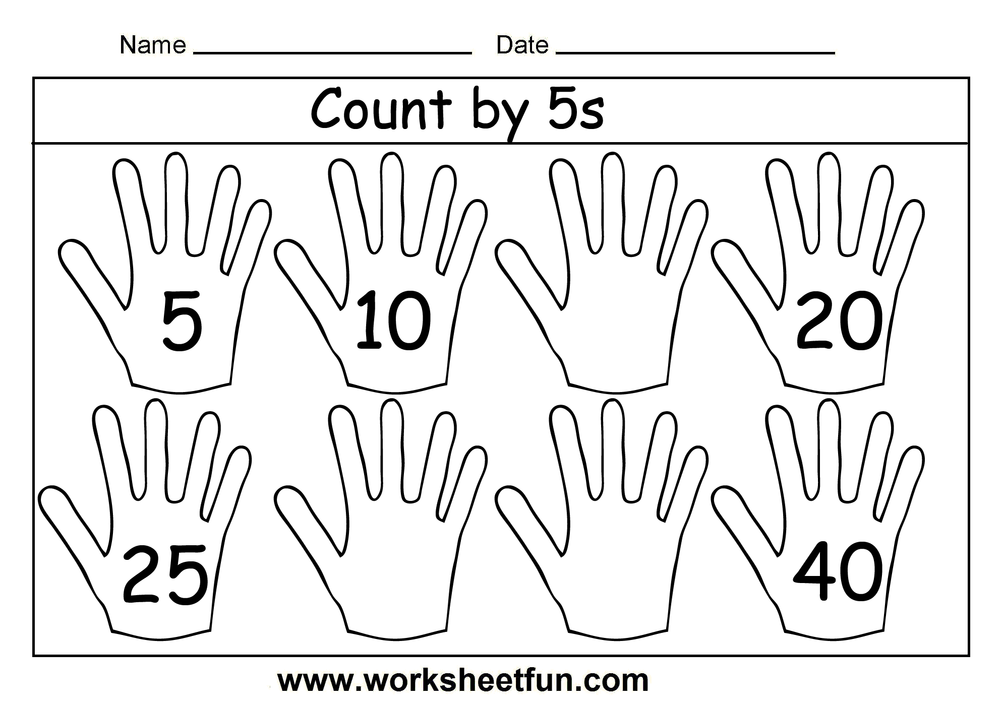 New 303 Counting In 5s Worksheet Hands