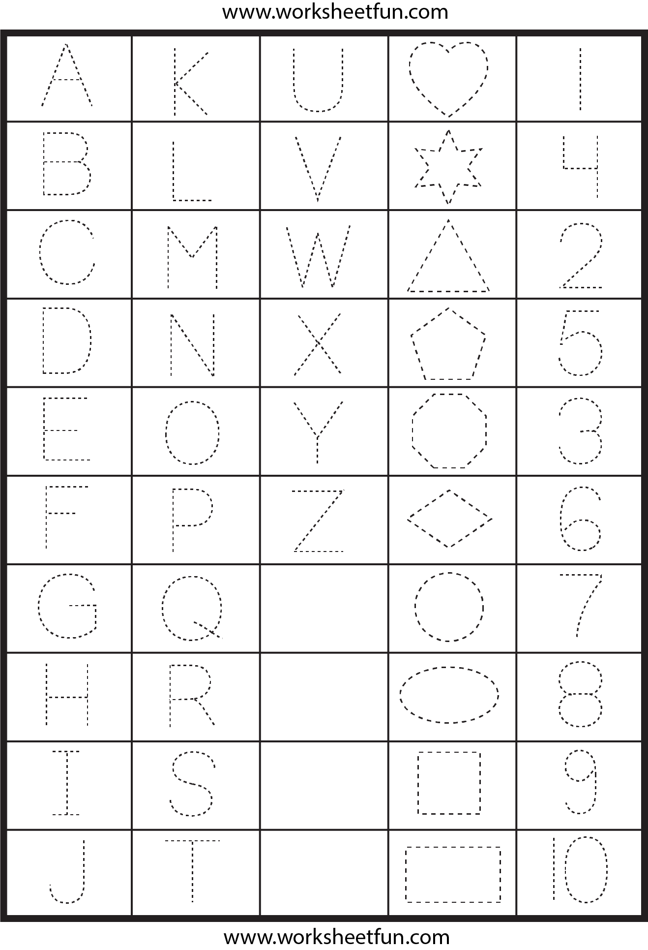 Letters Numbers And Shapes Tracing Worksheets Free Printable Worksheets Worksheetfun