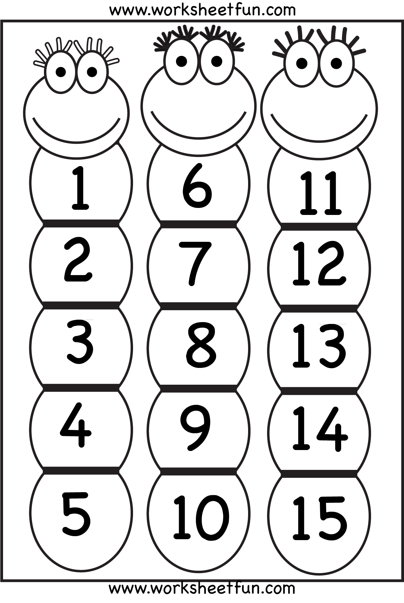 Number Chart 1-15 / FREE Printable Worksheets