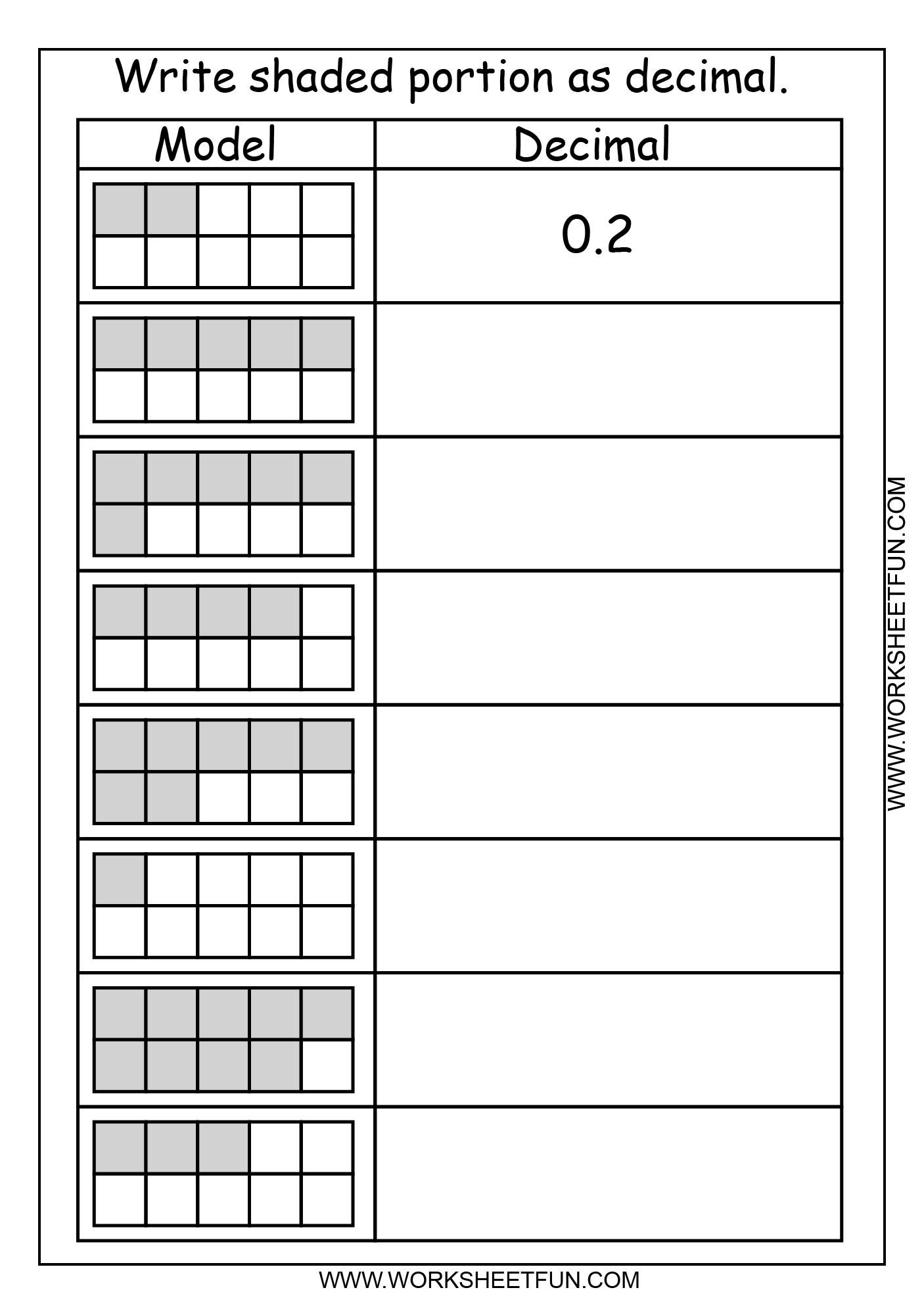 Decimal Model Tenths 2 Worksheets Free Printable