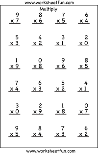 Single Digit Multiplication  4 Worksheets / FREE